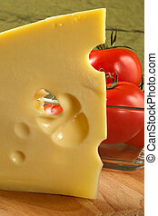 Big piece of fragrant elite cheese and tomatoes-pleasures...