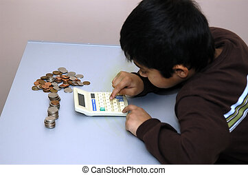 Kid counting his coins - Kid counting the coins that he has...
