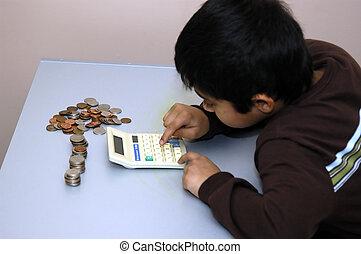seu, moedas, contagem, criança