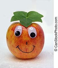 Cute apple. - Cute apple with gentle smile. Eat me !!!