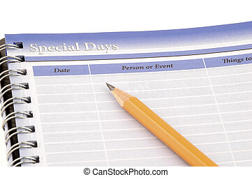 Personal Organizer - Close-up of a personal organizer and...