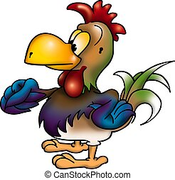 Rooster - High detailed and coloured illustration - bird...