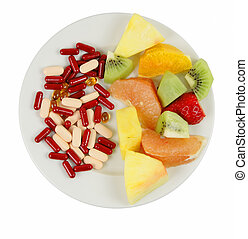 Choices - Vitamin choices on a plate:natural and...