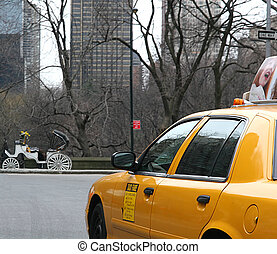 Yellow Cab - A yellow cab on 57th street in New York City