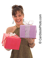 Happy girl with gift - Happy girl, holding two gift boxes