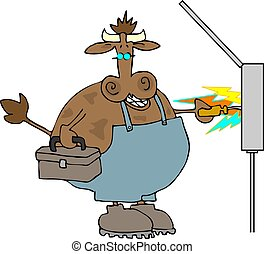 Cow Shock - This illustration depicts a cow in work clothes...