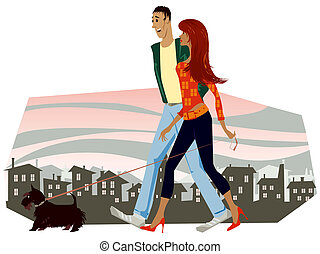 Couple and a dog - Couple walking with a dog