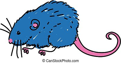 vole - cute furry vole isolated on white drawn in toddler...