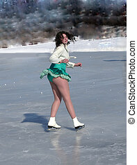 sensual ice skater - melanie skating on lake ramsey