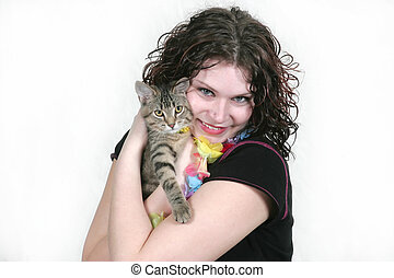 loving the kitten - melanie at the last model shoot