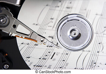 Music reflections - Music sheet reflected on computer hard...