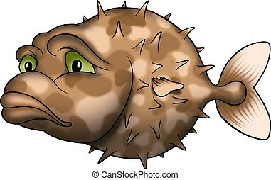 Porcupine fish - Fish 23 - High detailed illustration -...