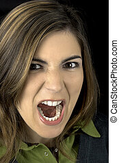 Woman yelling - Portrait of a young atractive woman yelling