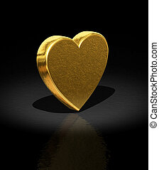 Heart - 3d Gold heart - Love background