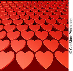Hearts background - Wall of red hearts - Love background