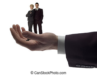 hand - business men holding business couple on white