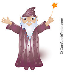 Wizard Graphic - Wizard holding a magic wand with a star...