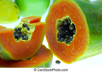 papaya - two pieces of fresh papaya