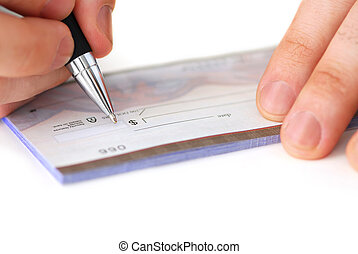 Writing a check - Closeup of man\\\'s hands writing a cheque