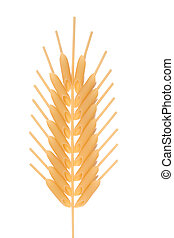 Corn ear composed of spaghetti and penne pasta, isolated on...