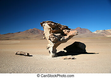 Stone Tree - The Stone Tree, in the altiplanic desert, in...