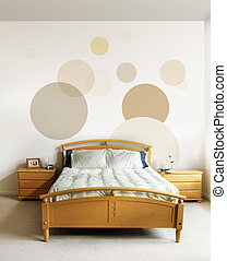 Design in modern bedroom - The design on the wall and on the...