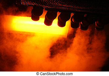 Steam from Pipes Abstract with Orange and Red Light