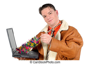 Young Businessman cleaning up laptop - Workaholic,young...