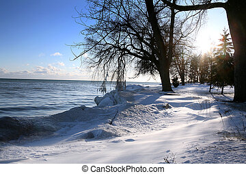 winter scene - beautiful winter nature scene, snow and ice...