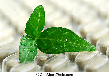 Herbal supplement pills close up with fresh green leaf