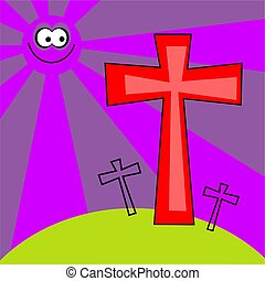 funky retro easter - the cross of calvary easter background...