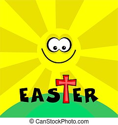 funky retro easter - easter cross design with bright shining...