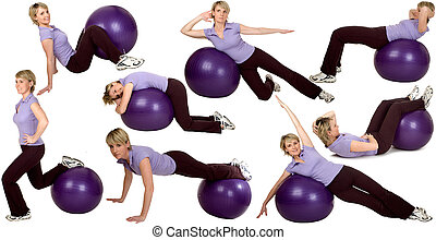 gym - multiple young womn stretching with ball on white...