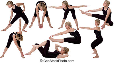 gym - multiple young women stretching on white background