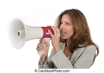 Mel with Megaphone 2 - Attractive young executive business...