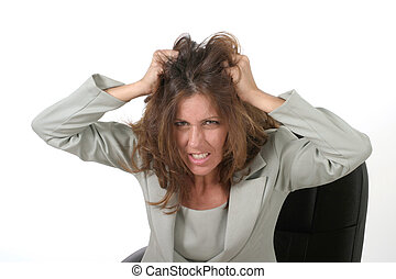 Woman Pulling Hair 2 - Frustrated executive business woman...