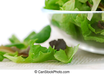 Baby greens - Fresh baby greens salad serving close up