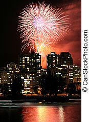 city night view and firework