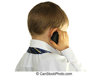 Little businessman talking on cell phone