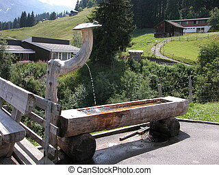 Trough in Murren - A view of a drinking trough in the town...