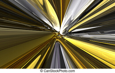 yellow zoom - 3d futuristic render with yellow warp lines