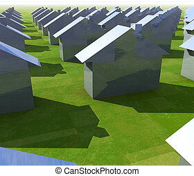 houses all the same - shiny houses in a neighborhood all the...