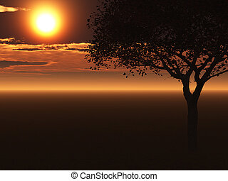 single tree illustration in the sunset with an endless plane