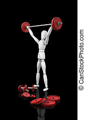 Weightlifter - 3D render of a wooden man lifting weights
