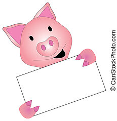 Pig Graphic - Pig graphic holding blank white sign over a...
