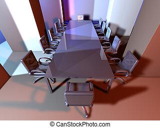 Metal Meeting Room - 3D rendered Boardroom Surreal metal...