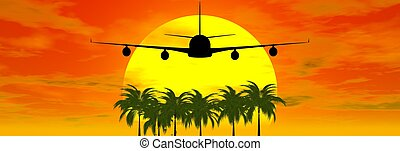 airplane silhouette - airplane with palms tree and sunset...