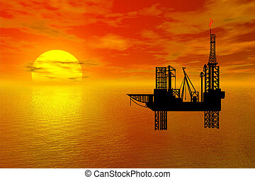 oil-drilling, platfor