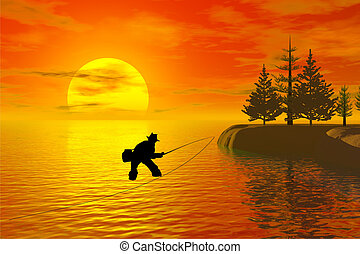 fisherman silhouette with sunset behind