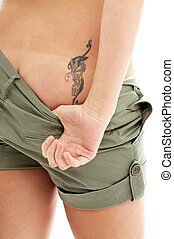 tattoo and panties print - playful lady pulling down her...